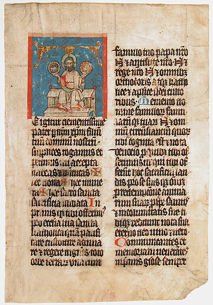 Manuscript Leaf with the Holy Trinity in an Initial T, from a Missal, Tempera,  ink, and gold on parchment, South German