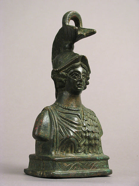 Steelyard Weight with the Bust of Athena, Copper alloy, filled with lead, Byzantine