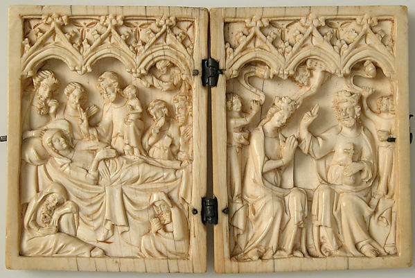 Diptych with Death and Coronation of the Virgin, Ivory with metal mounts, French