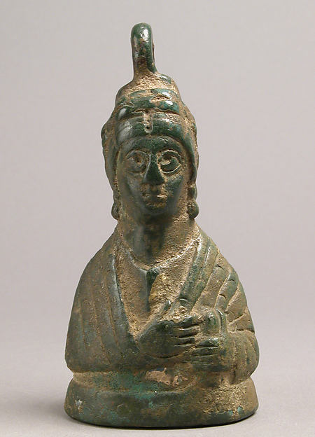 Weight in the Shape of a Byzantine Empress, Copper alloy, filled with metal, Byzantine