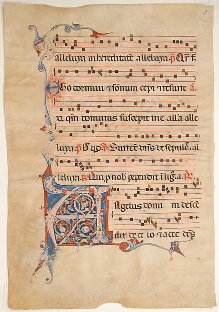 Manuscript Leaf with Foliated Initial A, from an Antiphonary, Tempera, ink, and silver on parchment, Italian