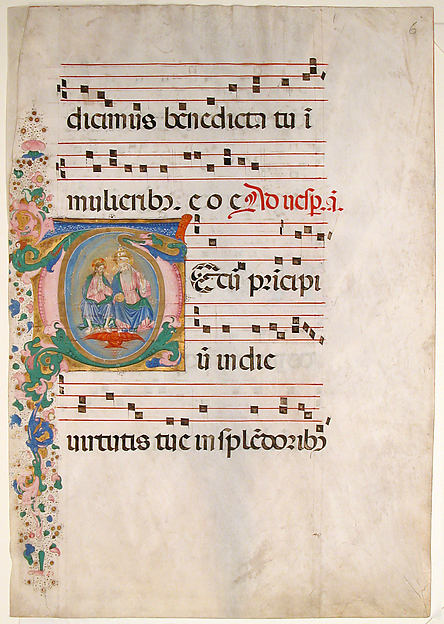 Manuscript Leaf with the Trinity in an Initial T, from an Antiphonary, Master of the Riccardiana Lactantius, Tempera, ink, and gold on parchment, Italian