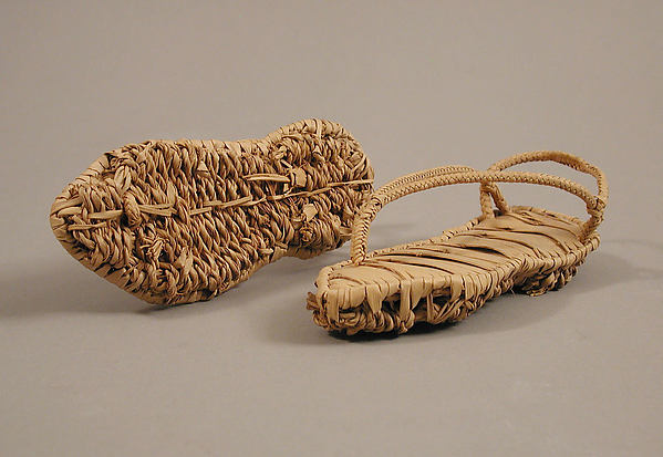 Pair of Sandals, Palm leaf with the inner sole made of strips, the lower sole in basket weave, and the straps plaited, Coptic