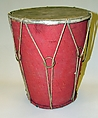 Drum, Wood, cloth, cord, metal, Indian (Bengal)
