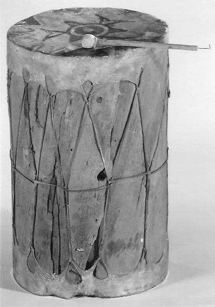 Drum, Wood, skin, Native American (Zuni)
