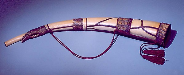 Horn, Ivory, leather, reptile skin, possibly Congolese