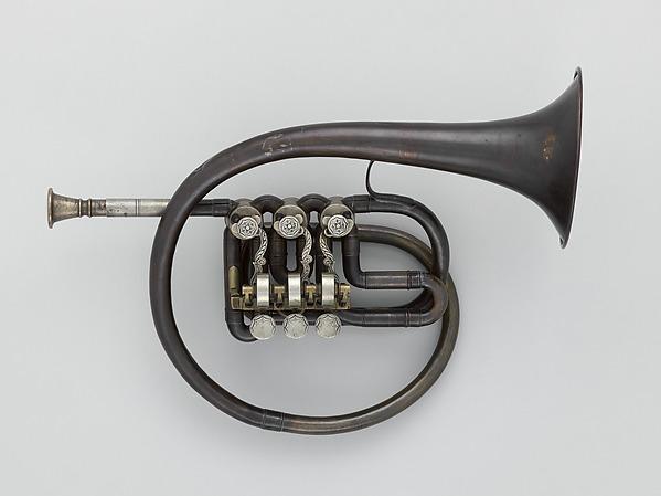 Soprano Helicon in B-flat, Brass, nickel-silver, possibly Italian