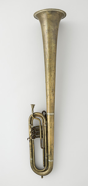 Over-the-Shoulder bass saxhorn in E-flat, Ernst Seltmann (Saxony 1828–1883 Philadelphia, Pennsylvania), Brass, nickel-silver, American