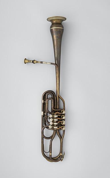 Clavicorno fagotto (brass bassoon) in B-flat, Brass, nickel-silver, Italian