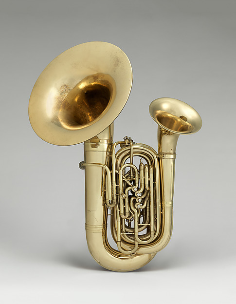 """Double tuba and baritone, """"Bellophone"""" in BB-flat, H. N. White Co. (American), Brass, mother of pearl, American"""