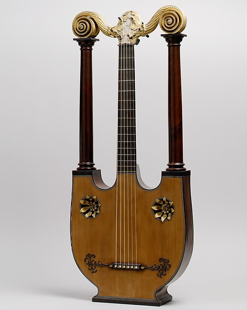 Lyre Guitar, Possibly Joseph Pons (French, born 1776) (probably a son of César Pons), Mahogany, spruce, ebony, brass, nickel-silver, gilding, French