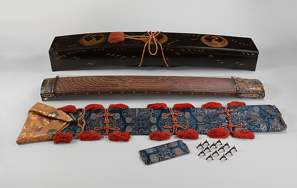 Koto, Metalwork by Goto Teijo, 9th generation Goto master, Japan (1603–1673), Various woods, ivory and tortoiseshell inlays, gold and silver inlays, metalwork, cloth, laquer, paper,, Japanese