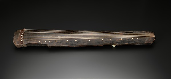 Guqin (古琴 ), Prince Lu (Chinese, 1628–1644), Wood (wutong and zi), silk, jade, lacquer, mother-of-pearl, Chinese
