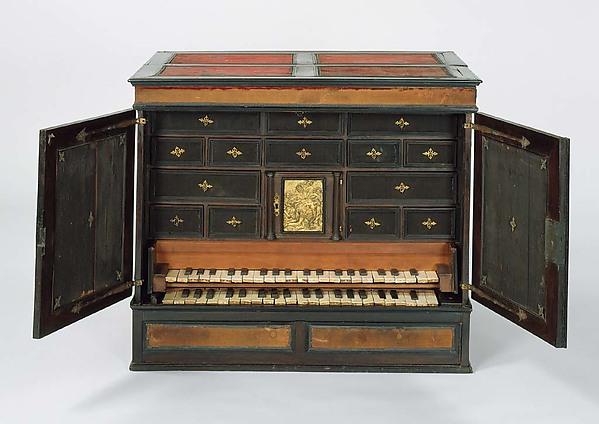 Claviorganum, Lorenz Hauslaib (German, Nuremberg 1568–1625 Regensburg), Wood, bone, ebony, metal, pear, quill, lead, leather, parchment, German