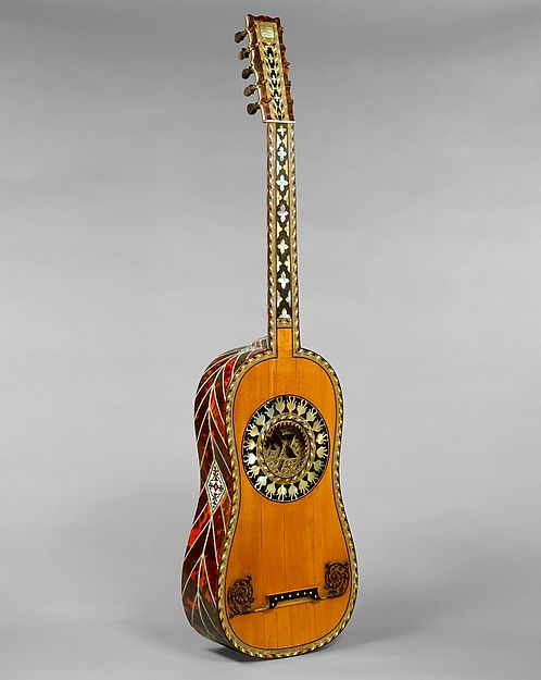 Guitar, attributed to Jean-Baptiste Voboam, Spruce, tortoiseshell, mother-of-pearl, ivory, ebony, French
