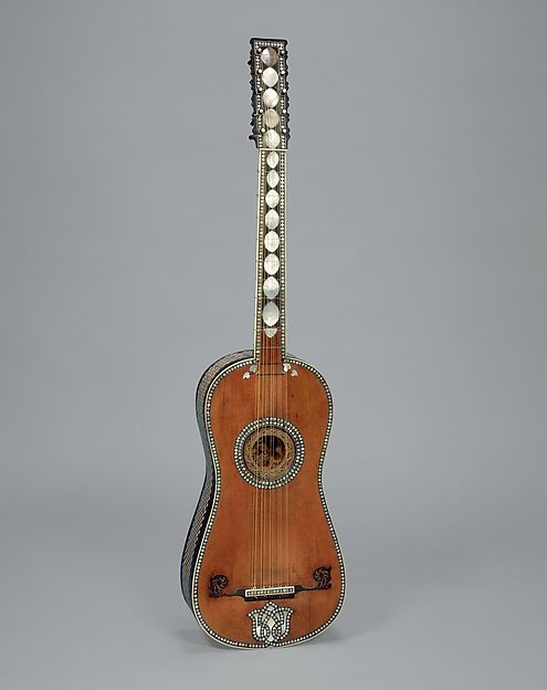 Guitar, Attributed to Giacomo (Jacob) Ertel (German, ca. 1646–1711 Rome), Spruce, ebony, fruitwood, bone, ivory, mother-of-pearl, parchment, Italian