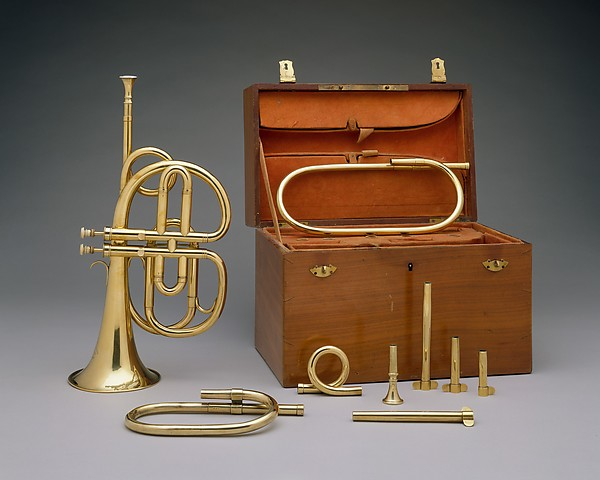 Cornet à Pistons in B-flat, Courtois frères, Brass, touch pieces of ivory, French