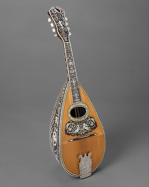 Mandolin, Angelo Mannello (American, Morcone, Italy 1858–1922 New York), Spruce, tortoiseshell, ivory, nickel-silver, metal,, American