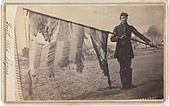 Sergeant Alex Rogers with Battle Flag, Eighty-third Pennsylvania Volunteers, Third Brigade, First Division, Fifth Corps, Army of the Potomac, Unknown (American), Albumen silver print from glass negative