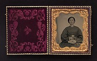 [Woman Holding Cased Portraits of Civil War Soldiers], Unknown, Tintype
