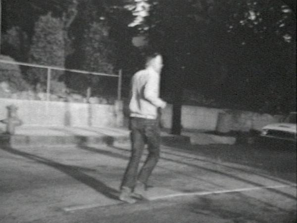 Walking Forward-Running Past, John Baldessari (American, born National City, California, 1931), Single-channel digital video, transferred from video tape, black-and-white, sound, 12 min., 45 sec.