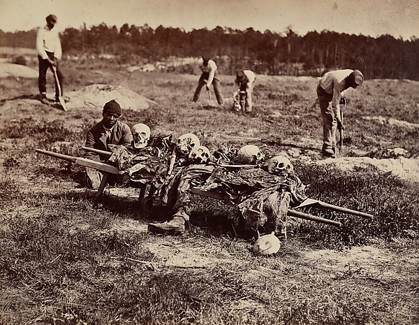 A Burial Party, Cold Harbor, Virginia, John Reekie (American, active 1860s), Albumen silver print from glass negative