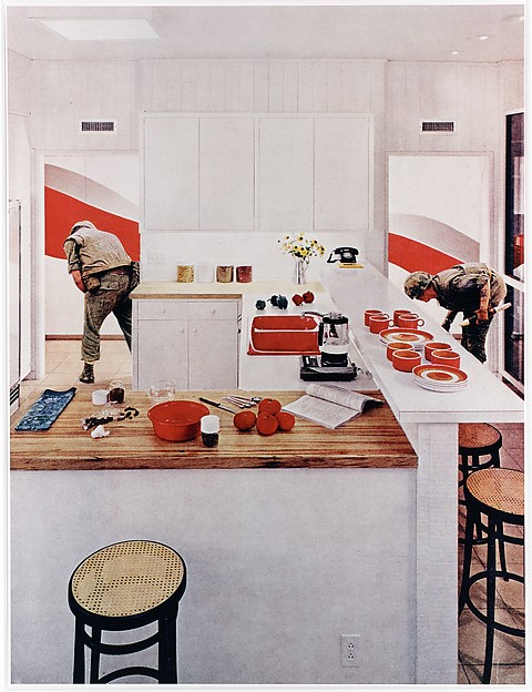 """Red Stripe Kitchen, from the series """"House Beautiful: Bringing the War Home"""", Martha Rosler (American), Chromogenic print"""