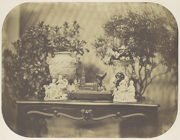 [Table Top Still Life with Model Cathedral and Small Sculptures], Louis-Rémy Robert (French, 1810–1882), Salted paper print from glass negative