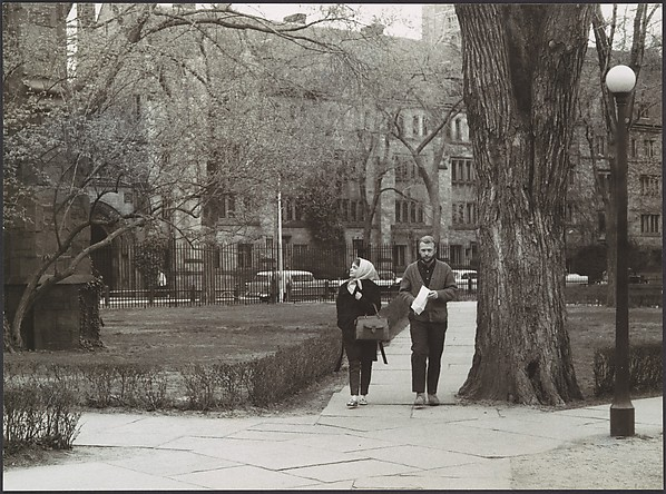 """[Couple on Footpath, Yale University Campus, New Haven, Connecticut Possibly for Unpublished Fortune Portfolio """"The Clothes""""], Walker Evans (American, St. Louis, Missouri 1903–1975 New Haven, Connecticut), Gelatin silver print"""