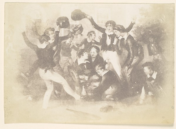 [Watercolor of Boys Playing], Unknown (British), Salted paper print from paper negative