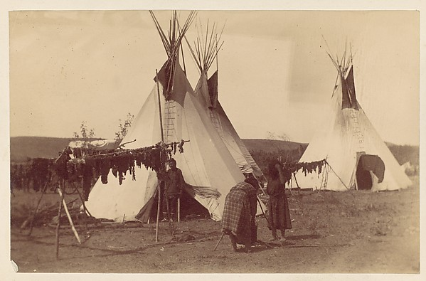 [Native American Woman in Camp with Racks of Drying Meat], Unknown (American), Albumen silver print from glass negative