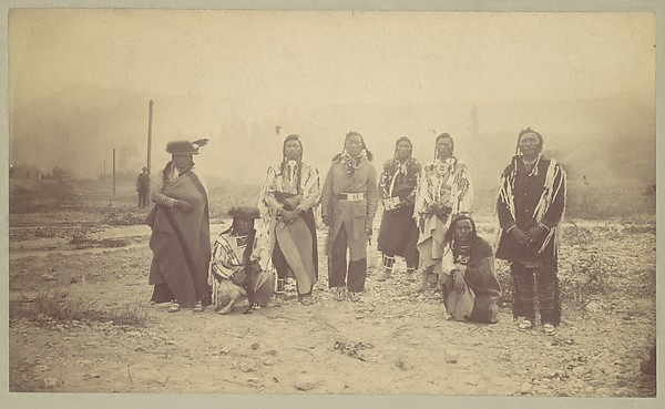 [Group of Native American Men, Telegraph Poles in Background], Unknown (American), Albumen silver print from glass negative