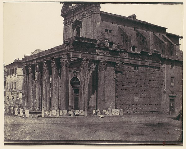 [Temple of Antonius and Faustina, San Lorenzo in Miranda, Rome], Attributed to Calvert Richard Jones (British, Swansea, Wales 1802–1877 Bath, England), Salted paper print from paper negative