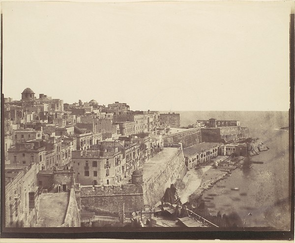 [The Harbor at Valletta, Malta], Attributed to Calvert Richard Jones (British, Swansea, Wales 1802–1877 Bath, England), Salted paper print from paper negative