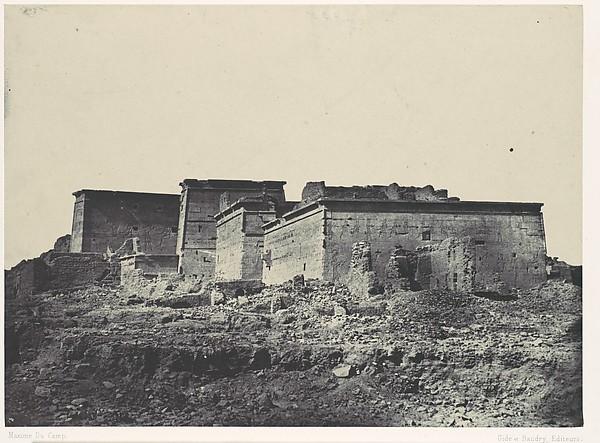 Nubie. Grand Temple d'Isis, A Philoe. Vue générale prise du nord, Maxime Du Camp (French, 1822–1894), Salted paper print (Blanquart-Évrard process) from paper negative