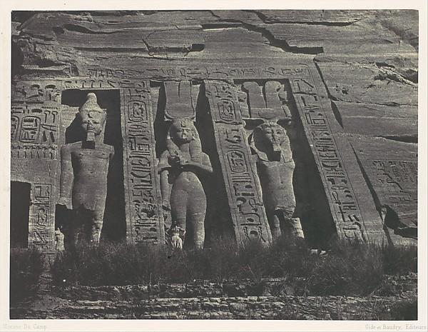 Nubie. Ibsamboul. Partie septentrionale du Spéos d'Hathor, Maxime Du Camp (French, 1822–1894), Salted paper print (Blanquart-Évrard process) from paper negative
