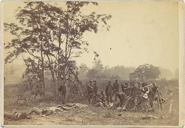 Burying the Dead on the Battlefield of Antietam, September 1862, Alexander Gardner (American, Glasgow, Scotland 1821–1882 Washington, D.C.), Albumen silver print from glass negative
