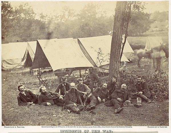 Group at Headquarters of the Army of the Potomac, Antietam, October 1862, Alexander Gardner (American, Glasgow, Scotland 1821–1882 Washington, D.C.), Albumen silver print from glass negative