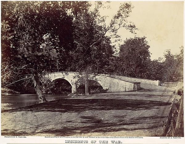 Burnside Bridge, Across the Antietam, near Sharpsburg, No. 1, September 1862, Alexander Gardner (American, Glasgow, Scotland 1821–1882 Washington, D.C.), Albumen silver print from glass negative