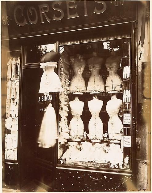 Boulevard de Strasbourg, Corsets, Paris, Eugène Atget (French, Libourne 1857–1927 Paris), Gelatin silver print from glass negative