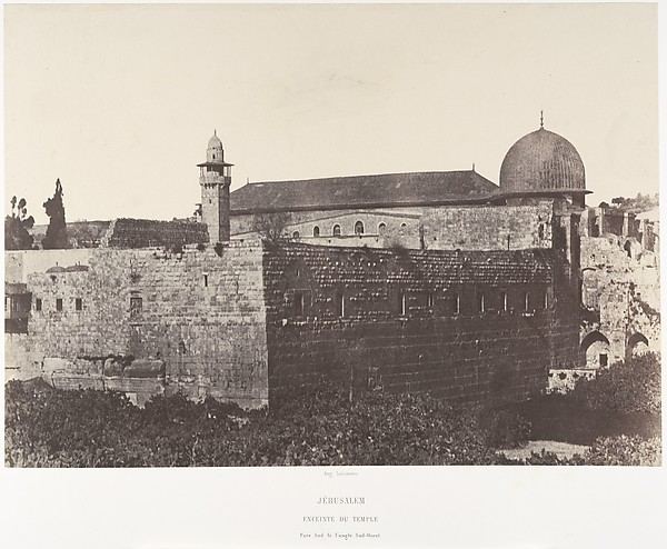 Jérusalem, Enceinte du Temple, Face sud de l'angle Sud-Est, Auguste Salzmann (French, 1824–1872), Salted paper print from paper negative
