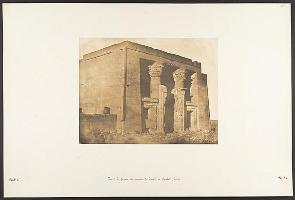 Vue de la façade du pronaos du Temple de Dakkeh (Pselcis), Maxime Du Camp (French, 1822–1894), Salted paper print from paper negative