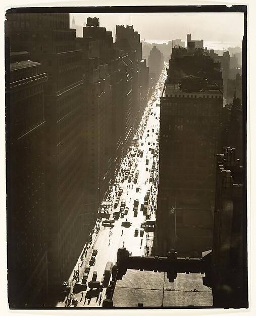 [Seventh Avenue Looking South from Thirty-fifth Street, New York], Berenice Abbott (American, Springfield, Ohio 1898–1991 Monson, Maine), Gelatin silver print