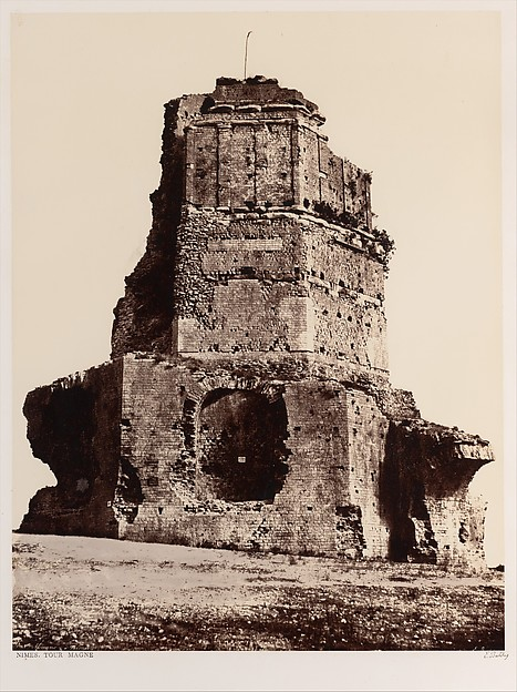 Nîmes, Tour Magne, Édouard Baldus (French, born Prussia, 1813–1889), Albumen silver print from paper negative