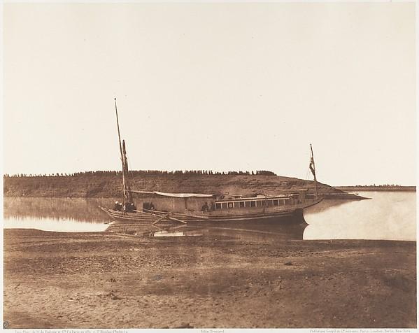 Louksor, Petit Bras du Nil - Barque de Voyageurs, Félix Teynard (French, 1817–1892), Salted paper print from paper negative