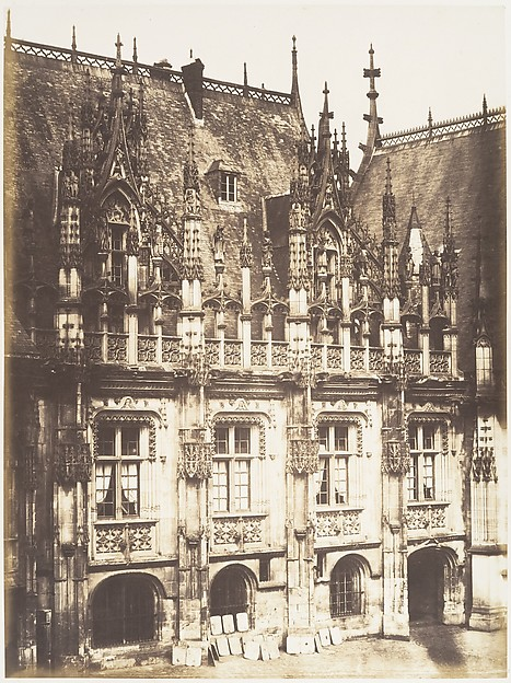 Fragment du Palais de Justice, Rouen, Edmond Bacot (French, 1814–1875), Salted paper print from glass negative
