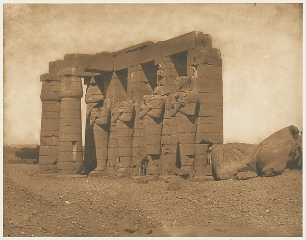 Colosses du Ramesséum, Maxime Du Camp (French, 1822–1894), Salted paper print from paper negative