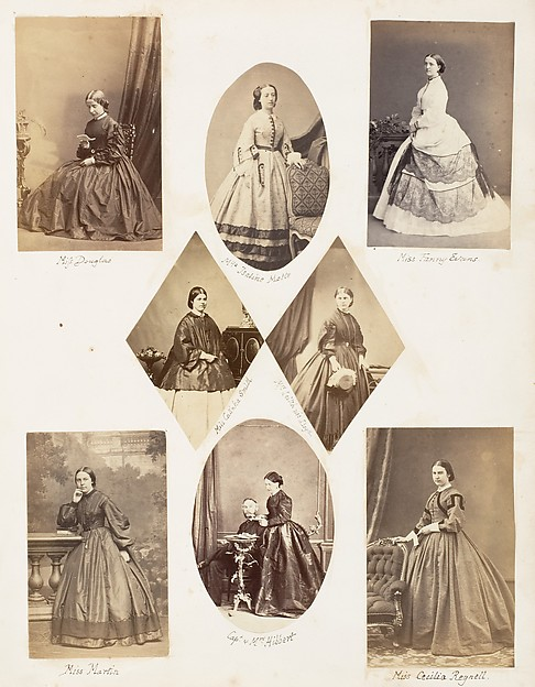 Miss Douglas; Mlle Isaline Motte; Miss Fanny Evans; Miss Catinka Smith; Mrs Leitch née Lloyd; Miss Martin; Capt. & Mrs Hibbert; Miss Cecilia Regnell, John Dillwyn Llewelyn (British, Swansea, Wales 1810–1882 Swansea, Wales), Albumen silver print