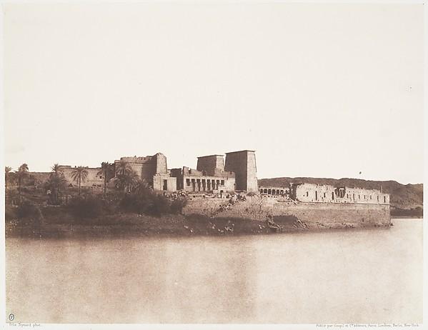 Ile de Fîleh (Philæ), Vu Générale Prise du Nord-Ouest au Point A, Félix Teynard (French, 1817–1892), Salted paper print from paper negative