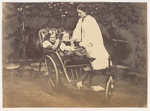 [The Campbell Twins and Sunbeam], Unknown, Albumen silver print